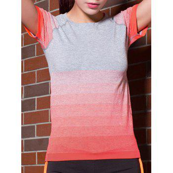 Active Short Sleeves Gradient Color Stretchy T-Shirt For Women