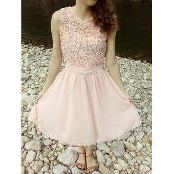 Chic Round Collar Sleeveless Dress For Women