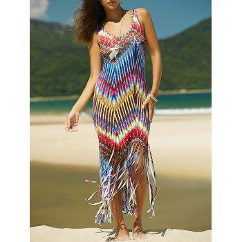 Colored Zigzag Fringe Racerback Dress