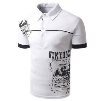 Men's Turn-down Collar Abstract Printed Short Sleeves Polo T-Shirt