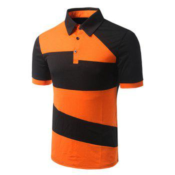 Men's Turn-down Collar Color Block Short Sleeves Polo T-Shirt