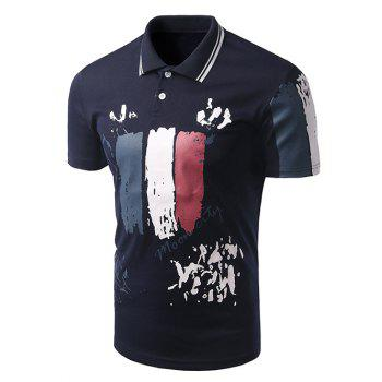 Men's Turn-down Collar Letter Printed Short Sleeves Polo T-Shirt