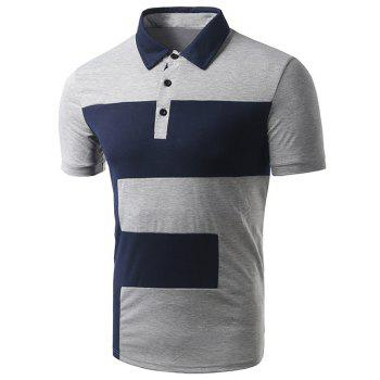 Men's Turn-down Collar Color Block Short Sleeve Polo T-Shirt