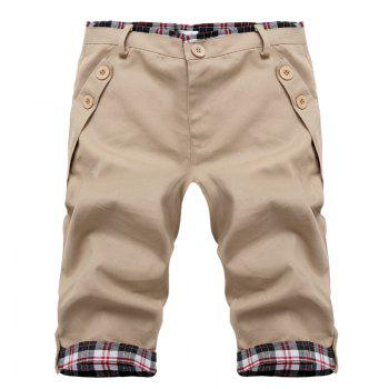 Fashion Straight Leg Plaid Spliced Color Block Men's Zipper Fly Shorts