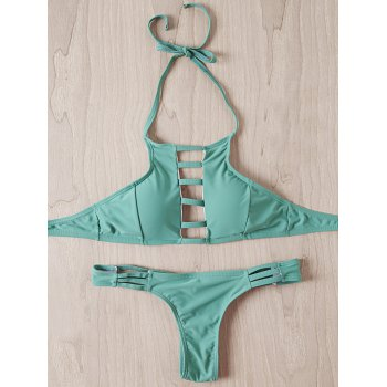 Stylish Women's Halter Strappy Hollow Out Bikini Set - MINT GREEN MINT GREEN