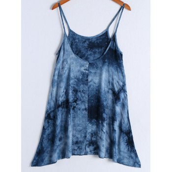Casual Women's Spaghetti Strap Tie Dye Knee Length Dress
