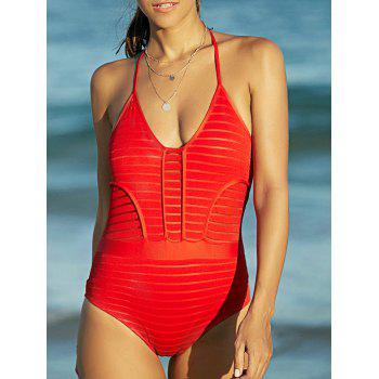 Attractive Women's See-Through Backless Halter Swimwear