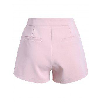 Stylish Women's Solid Color Zipper Fly Shorts - SHALLOW PINK L