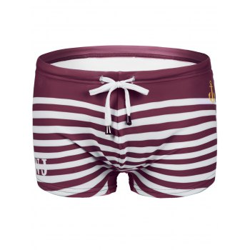 Lace-Up Design Stripe Letter and Anchor Print Men's Swimming Trunks