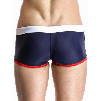 Low Rise Splicing Design Men's Swimming Trunks - DEEP BLUE L