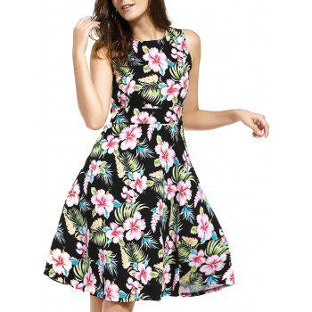 Tropical Print Knee Length Flare Dress