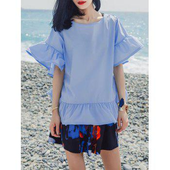 Refreshing Flare Sleeve Flounce Blouse For Women