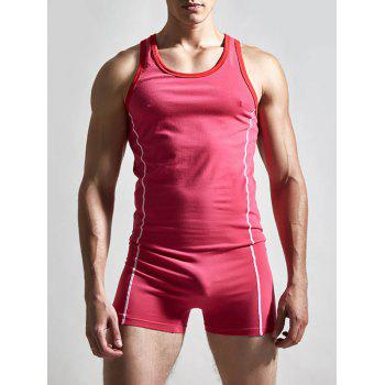 Solid Color Round Neck Siamesed Men's Romper - RED RED