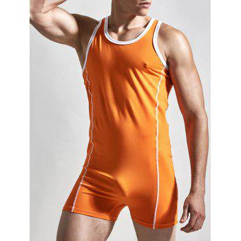 Solid Color Round Neck Siamesed Men's Romper - ORANGE L