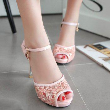 Lace Panels Sequins Chunky Heel Peep Toe Shoes - LIGHT PINK 39
