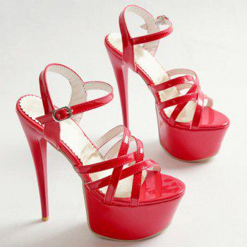 Stylish Platform and Super High Heel Design Women's Sandals - RED 38
