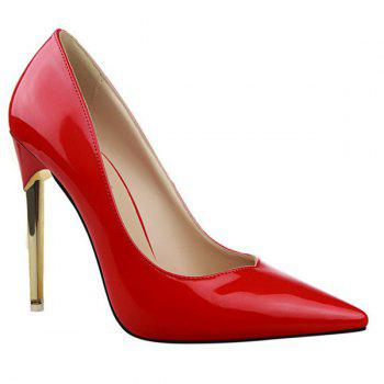 Concise Stiletto Heel and Patent Leather Design Women's Pumps