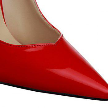 Concise Stiletto Heel and Patent Leather Design Women's Pumps - RED 39