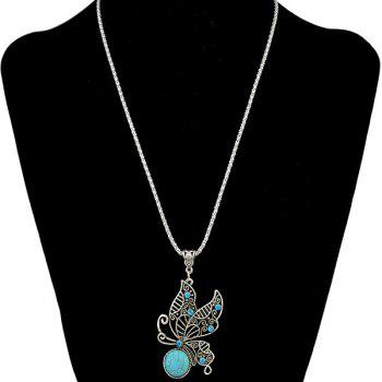 Ethnic Style Faux Turquoise Rhinestone Hollowed Butterfly Necklace For Women