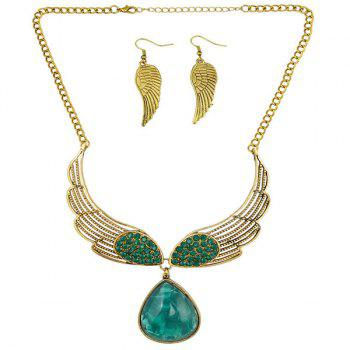 A Suit of Faux Gem Rhinestone Wings Necklace and Earrings - GREEN
