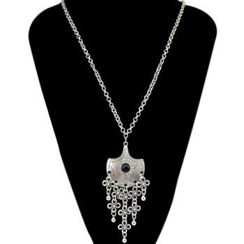 Faux Gem Flower Bell Fringed Necklace