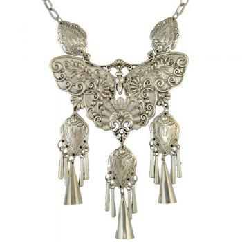 Engraving Butterfly Fringed Statement Necklace