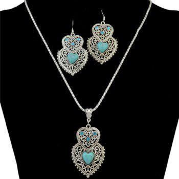 A Suit of Faux Turquoise Rhinestone Heart Necklace and Earrings