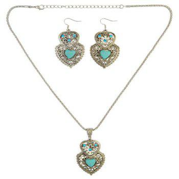 A Suit of Faux Turquoise Rhinestone Heart Necklace and Earrings - GREEN