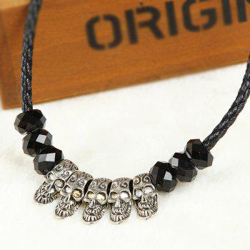 Collier Faux Crystal Skull Beads - Noir