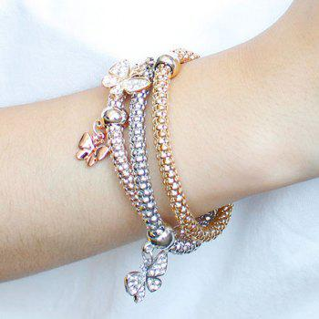 A Suit of Multilayered Rhinestone Butterfly Charm Bracelets - SILVER