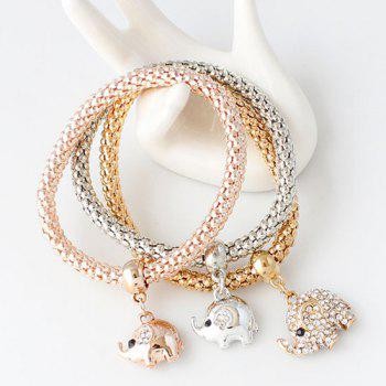 A Suit of Elephants Rhinestone Alloy Bracelets