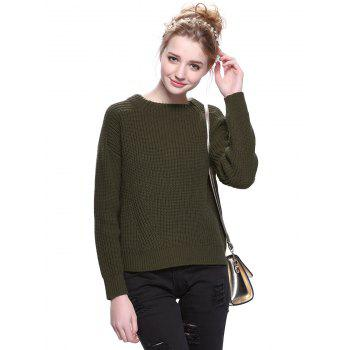 Trendy Solid Color Round Neck Pullover Sweater