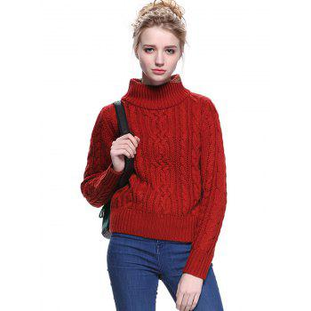 Trendy Solid Color Turtle Neck Pullover Sweater