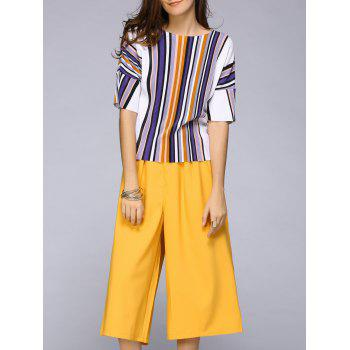 Elegant Women's Half Sleeve Striped Top + Cropped Pants Twinset