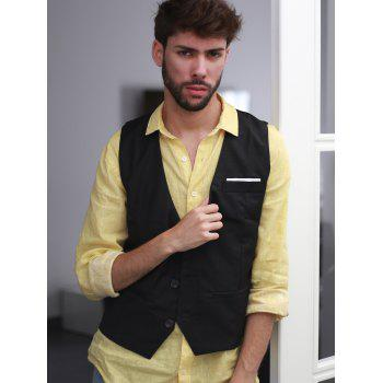 Single Breasted Edging Solid Color V-Neck Sleeveless Men's Waistcoat - BLACK 2XL