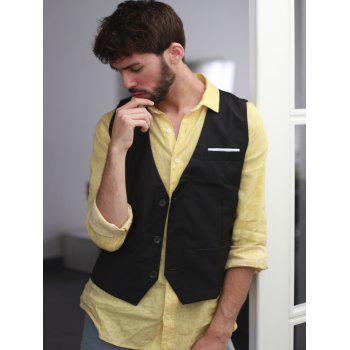 Single Breasted Edging Solid Color V-Neck Sleeveless Men's Waistcoat - M M