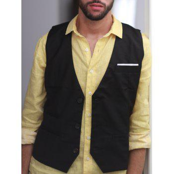 Single Breasted Edging Solid Color V-Neck Sleeveless Men's Waistcoat - BLACK M