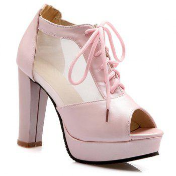 Sweet Lace-Up and Splicing Design Women's Peep Toe Shoes - LIGHT PINK LIGHT PINK