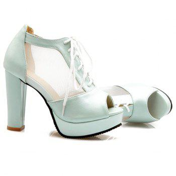 Sweet Lace-Up and Splicing Design Women's Peep Toe Shoes - LIGHT BLUE LIGHT BLUE