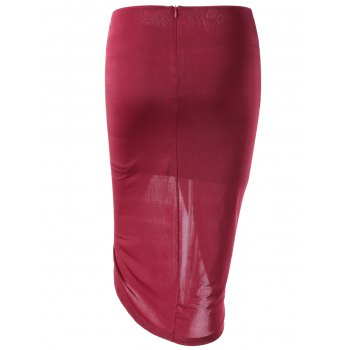 Fashionable Women's Fitted Symmetry High Rise Skirt - CERISE L