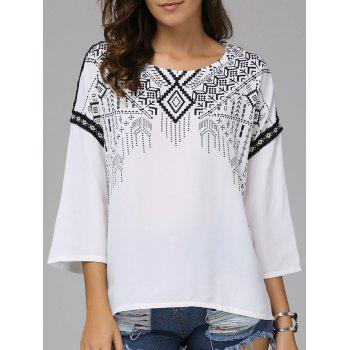 Fashionable Round Collar National Wind Nine-Minute Sleeves Printing T-shirt  For Women