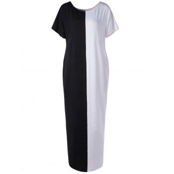 Stylish Black And White Color Block Dress For Woman