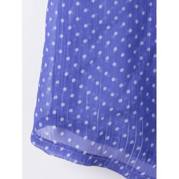 Elegant Women's Slimming Bow Tie Collar Polka Dot Print Shirt - L L