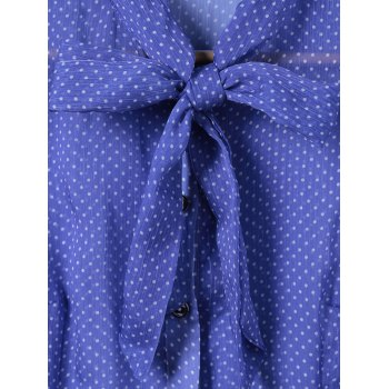 Elegant Women's Slimming Bow Tie Collar Polka Dot Print Shirt - S S