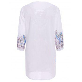Stylish Printed 3/4 Sleeve V-Neck Lace-Up Women's Dress - WHITE WHITE