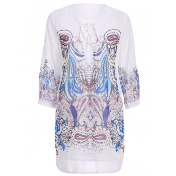 Stylish Printed 3/4 Sleeve V-Neck Lace-Up Women's Dress - WHITE M