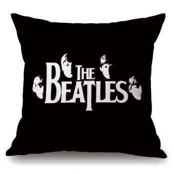 Hot Sale The Beatles Portrait Letter Pattern Square Shape Pillowcase