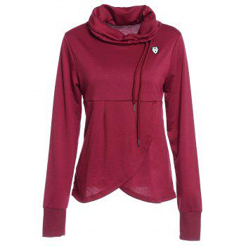 Petal Hem Drawstring Embroidered Sweatshirt - WINE RED M