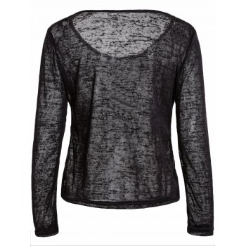 Pullover Long Sleeve Scoop Neck Solid Color Blouse For Women - BLACK L