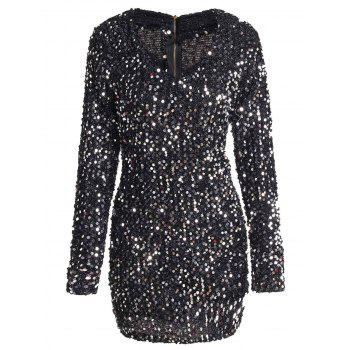 Sequins V Neck Long Sleeve Sparkly Dress
